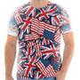 Camiseta - Camisa Bandeira Usa Reino Unido Moda Masculina