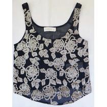 Camisa Blusa Bordada Floral Paete Lantejoula Abercrombie