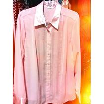 Blusa Bata Top Tunica Crepe Rosa Marca Inglesa Gg