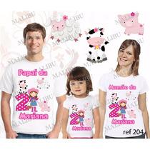 Lembrança De Aniversario Fazendinha Rosa Camiseta Kit Com 3