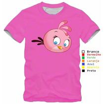 Camisa Infantil Angry Birds Jogo Passarinho Rosa