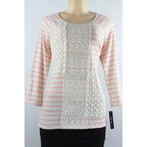 Três Quartos Mangas Camisa Estilo & Co. Pêssego Com Croche