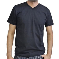 Camiseta Lisa Gola V Cores 100% Algodão - Fio 30.1