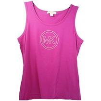 Camiseta Regata Feminina Michael Kors Rosa Mk Nova Basica