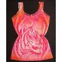 Regata Pink Rosa Onça Oncinha Bicho Blusa Tigre Renda Verão