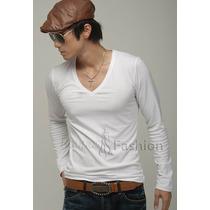 Camiseta Manga Longa Regata Cavada Gola V,blusa Inverno Tank