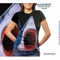 Camisetas Personalizadas , Estampa Digital .tubarão 3d
