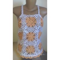 Blusa Feminina Em Crochê Com Alças Duas Cores