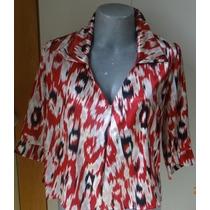 Camisa Feminina Vermelha Estampada Bata