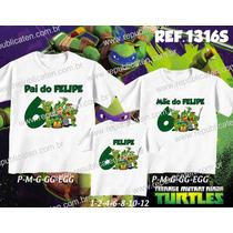 Camiseta Tartarugas Ninjas Personalizada Aniversario Kit