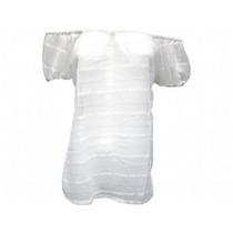 Blusa Cigana De Chiffon Ciganinha Bata Branca Transparente