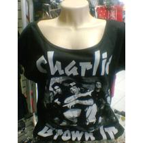Camiseta Gola Canoa Charlie Brown Jr Grupo Cor Preta