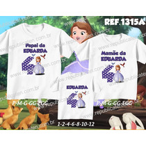 Lembrança De Aniversario Princesa Sofia Kit Camisetas C/3