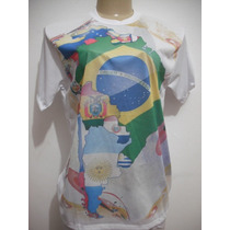 Blusa Bandeira Brasil Países America Sul Tam M Bom Estado