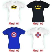 Baby Look Feminina Batman, Mulher Maravilha, Super Heróis