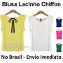 Blusa Chiffon Lacinho - No Brasil Envio Imediato
