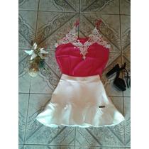 Lindo Conjunto De Saia Branca E Regata Rosa Em Renda Guipir