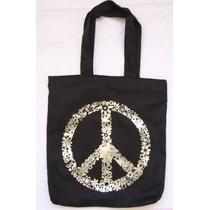 Bolsa Sacola Simbolo Da Paz Com Ziper Forrada Grande