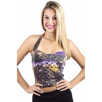Roupas Femininas Top Cropped Estampado Blusas Femininas