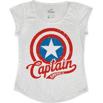 Tshirt Feminina Em Tecido Flamê - Capitão América