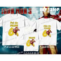 Lembrança De Aniversario Homem De Ferro Kit Camisetas C/ 3
