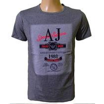 Camiseta Armani Camisa Gola Careca Cinza Original