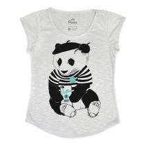 Blusa Feminina Em Tecido Flamê - Panda Francês Selfie