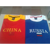Camisetas Da China, Rússia Bordadas
