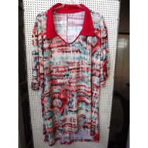 Blusa Reta Fluite Estampada Bege Vermelha Com Gola E Mangas