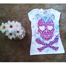 Blusa Camiseta Caveira Skull Retro Vintage Oncinha