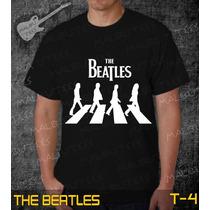 Camiseta The Beatles Rock Roll Bandas Preta Frete Grátis