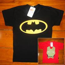 Camisa Infantil Camiseta Batman Homem De Ferro Super Heróis