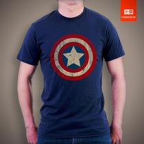 Camisetas Capitão América Escudo Desgastado Herói Marvel