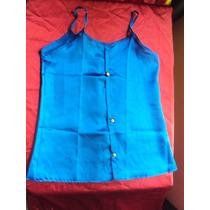 Blusa De Cetim Azul Com Alça