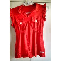 Blusa Vermelha Batinha Com Babadinhos P