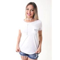 Camiseta - Tshirt - Blusa - Feminina - Básica Bolsinho