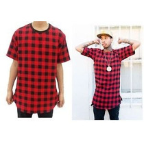 Camisa Zipper Bandana Xadrez Tipo Cease Red Tyga Hip Hop