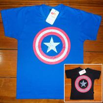 Camiseta Camisa Adulto Azul Ou Preta Capitão América Heróis