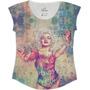 Tshirt Feminina Em Tecido Flamê - Marilyn Monroe Tatuada