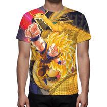 Camisa, Camiseta Anime Goku Super Saiyajin 3 - Estampa Total