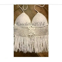 Top Cropped Croche Franjas - Frete Grátis Sul/sudeste