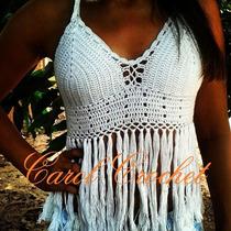 Top Cropped Croche Franja Tendência 2015 Crochet Com Bojo