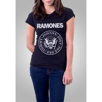 Camiseta Ramones Feminina Preta Baby Look