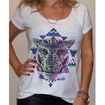 Linda Camiseta Feminina Estampa Javali Estilizada Fashion