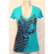 Camiseta T-shirt Azul Bic Verde Água Com Estampa De Tigre