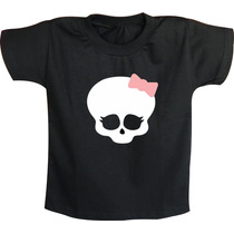 Camiseta Infantil Caveria Feminina Rock N´ Roll - Laço Banda