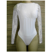 Body Modelador Costas Nua Renda Branco Pronta Entrega!!