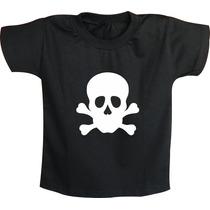 Camiseta Infantil Ou Body Caveira Masculina Rock And Roll