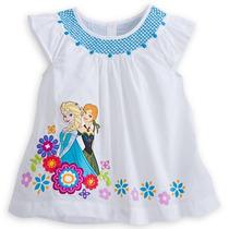 Blusa Bata Elsa Anna Frozen Tecido Disney Store Original 7/8
