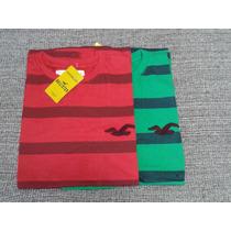 Camiseta Algodão Masculina Listrada Hollister! No Brasil